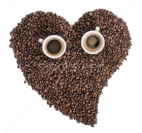 Kahve çekirdekleri iki kahve kalp tohum Stok fotoğraf © limpido