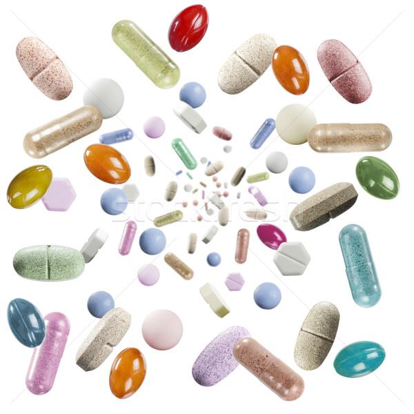 Сток-фото: дождь · таблетки · разнообразие · красочный · падение · белый