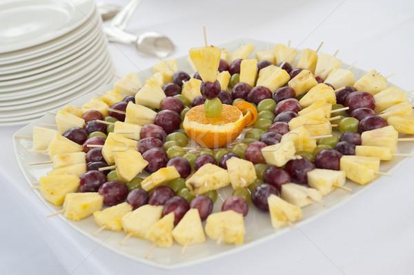 Stok fotoğraf: Meyve · büfe · tablo · meyve · parti · hizmet