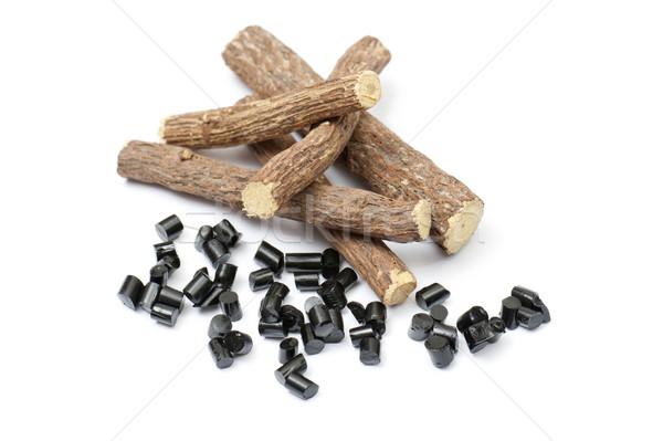 Lukrecja korzenie czarny sztuk biały drewna Zdjęcia stock © limpido