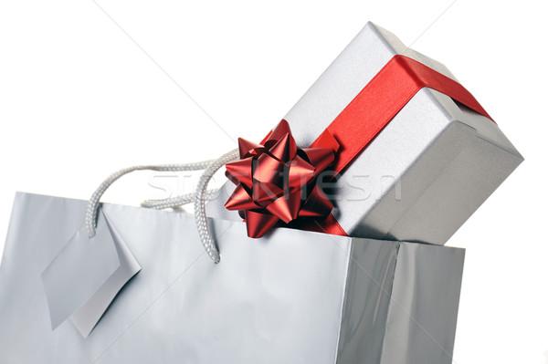 Hediye kutusu alışveriş çantası beyaz sevmek doğum günü arka plan Stok fotoğraf © limpido