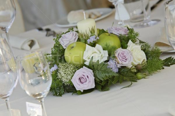 цветок свадьба таблице стекла ресторан свечу Сток-фото © limpido