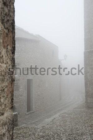 Sicilya görmek eski yol sis şehir Stok fotoğraf © limpido