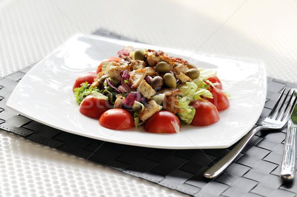 Salata tavuk domates zeytin tablo ayarlamak Stok fotoğraf © limpido