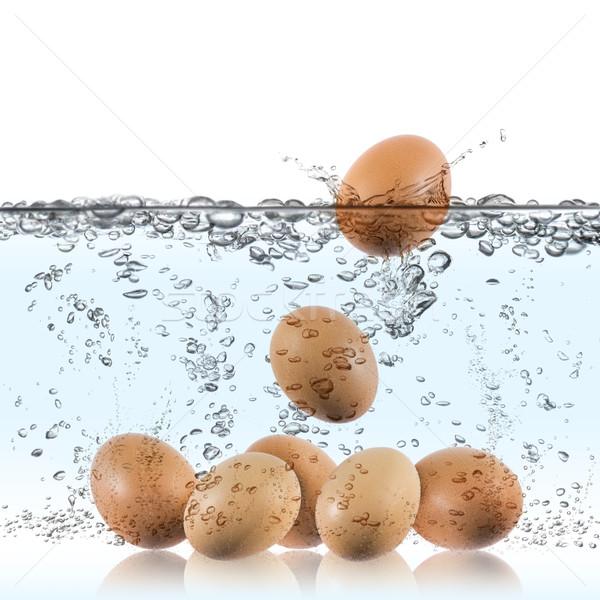 Gekochtes Ei Eier Wasser Essen Ei Hintergrund Stock foto © limpido