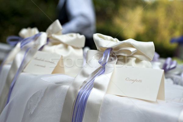 Сток-фото: конфетти · свадьба · таблице · мешки · конфеты · брак