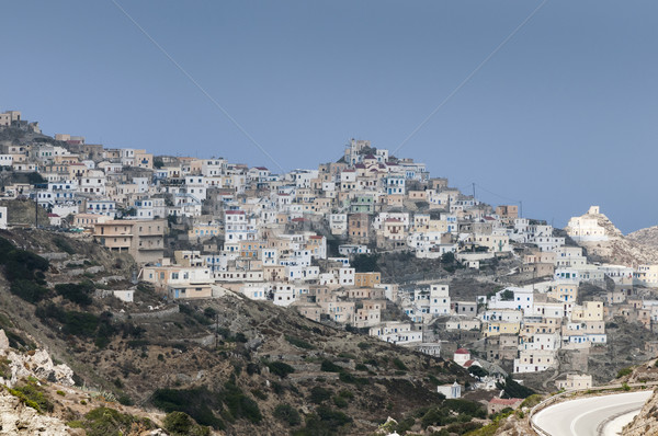 Yunan köy geleneksel ada dağlar ev Stok fotoğraf © limpido