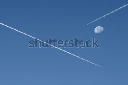 Uçan mavi gökyüzü ay ışık teknoloji Stok fotoğraf © limpido