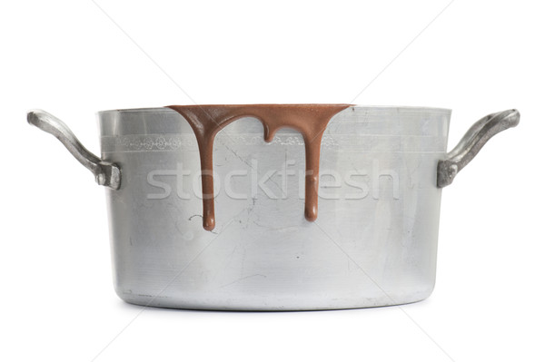 Chocolat chaud vieux aluminium pot chaud fondu Photo stock © limpido