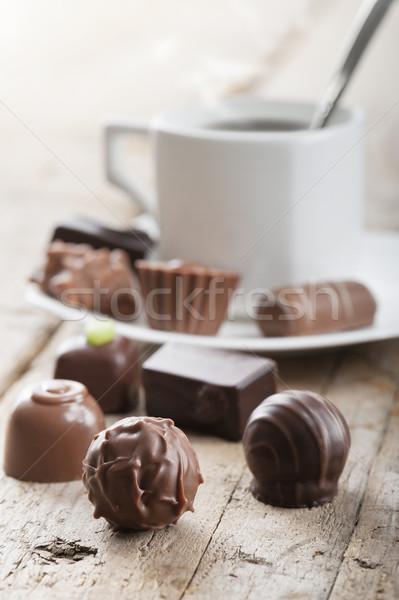 şekerleme fincan kahve çikolata tatil tatlı Stok fotoğraf © limpido