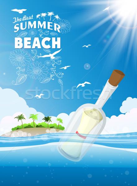 Tropicales plage fond art été Palm Photo stock © lindwa