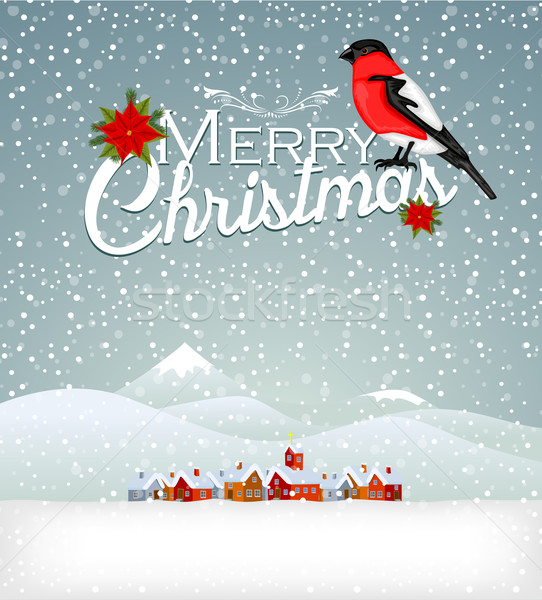 Noel ev yol ev kar ay Stok fotoğraf © lindwa