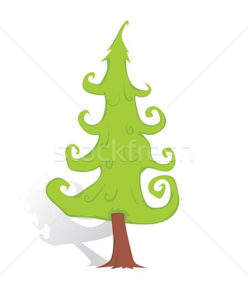 Karácsonyfa hó háttér zöld fehér minta Stock fotó © lindwa