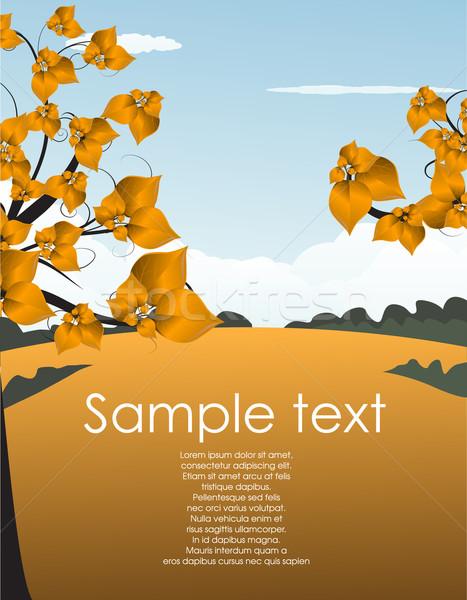 ősz tájkép fény terv levél keret Stock fotó © lindwa