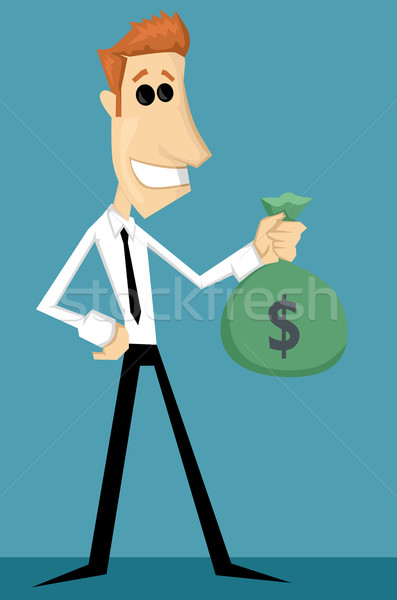 Cartoon office worker with bag of money Stock photo © lindwa