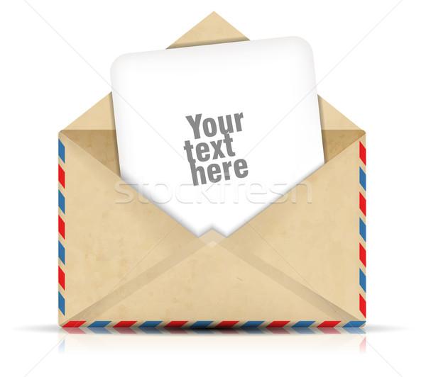 Open envelop papier business computer kantoor Stockfoto © lindwa