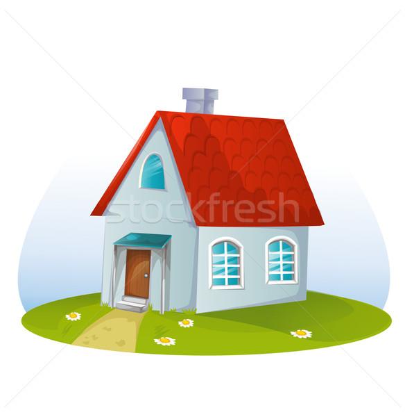 Desenho animado casa branco família construção modelo Foto stock © lindwa