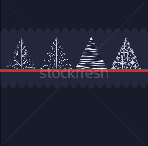 Noel ağacı dizayn soyut doğa kış mavi Stok fotoğraf © lindwa