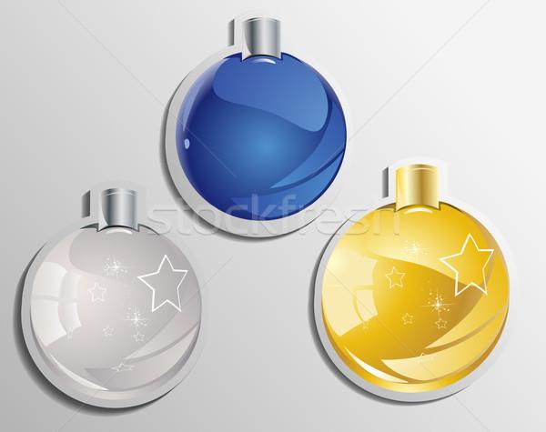 élégante Noël neige hiver balle étiquette Photo stock © lindwa