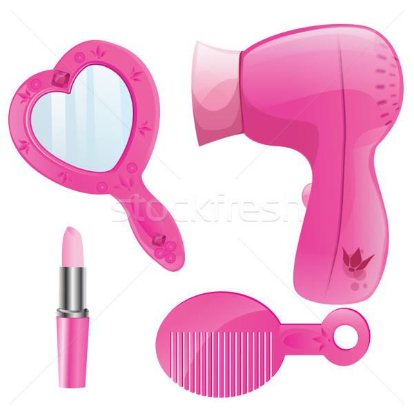 Schoonheid collectie vector roze meisje liefde Stockfoto © lindwa