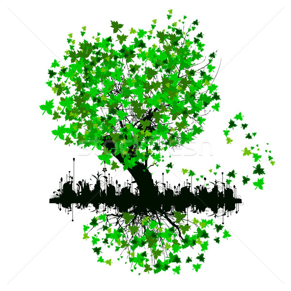 árvore folhas verdes projeto folha teia verde Foto stock © lindwa