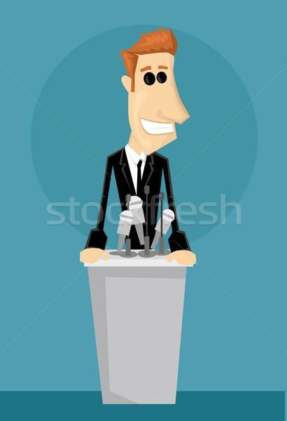 Rajz irodai dolgozó pódium üzlet háttér üzletember Stock fotó © lindwa