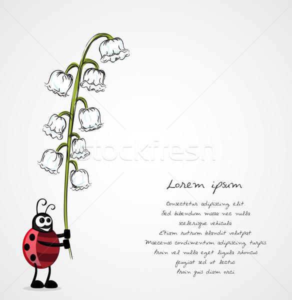 Coccinelle fleur printemps sourire drôle cadeau Photo stock © lindwa