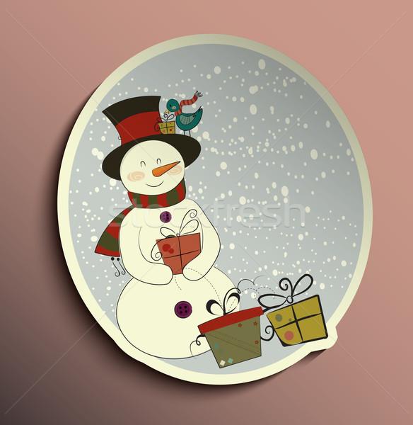 Bonhomme de neige tag fond cadre signe espace Photo stock © lindwa