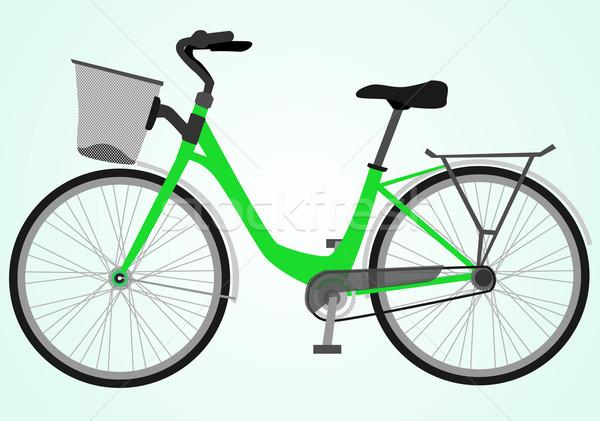 Bicikli sport hegy fekete sziluett képzés Stock fotó © lindwa
