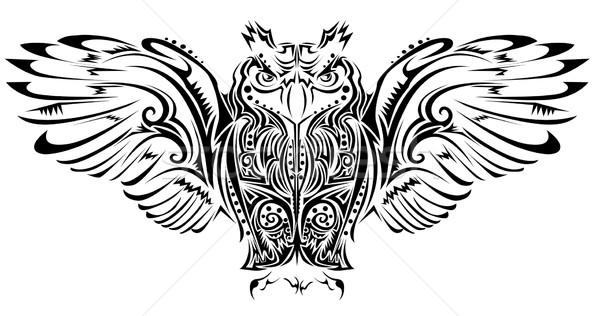 совы татуировка ночь орел силуэта свободу Сток-фото © lindwa