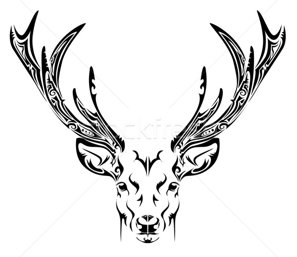Stock photo: Abstract deer head tribal tattoo