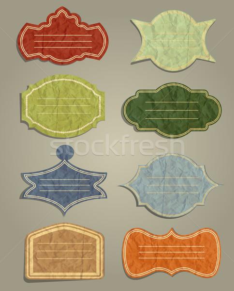 Ayarlamak bağbozumu etiketler kâğıt arka plan kart Stok fotoğraf © lindwa