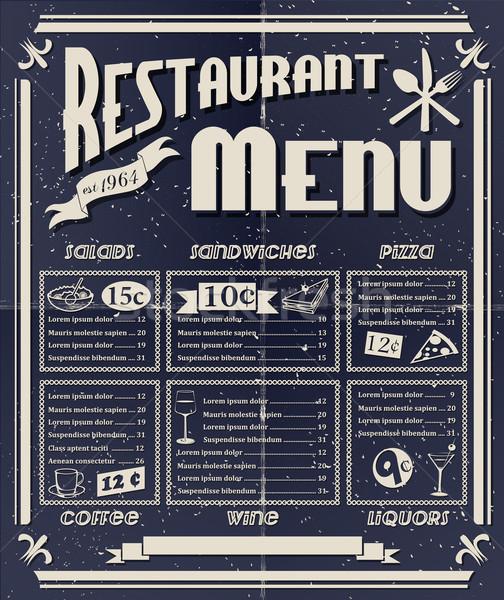 Vintage restaurant menu koffie vis pizza Stockfoto © lindwa