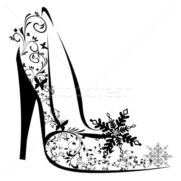 Schoenen bloem abstract blad zomer tekening Stockfoto © lindwa