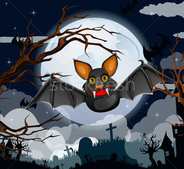 Karikatür halloween bat uçan fare sanat Stok fotoğraf © lindwa