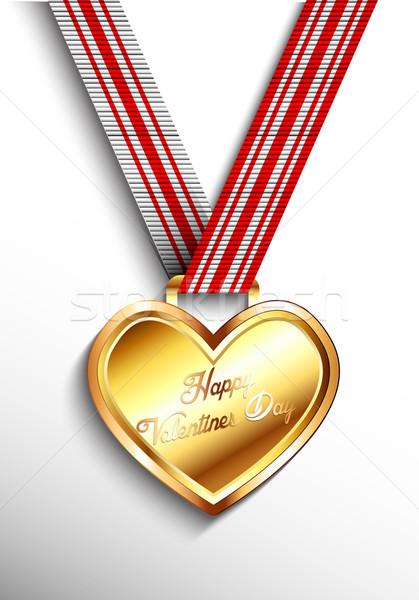 Saint valentin or coeur médaille métal attribution Photo stock © lindwa