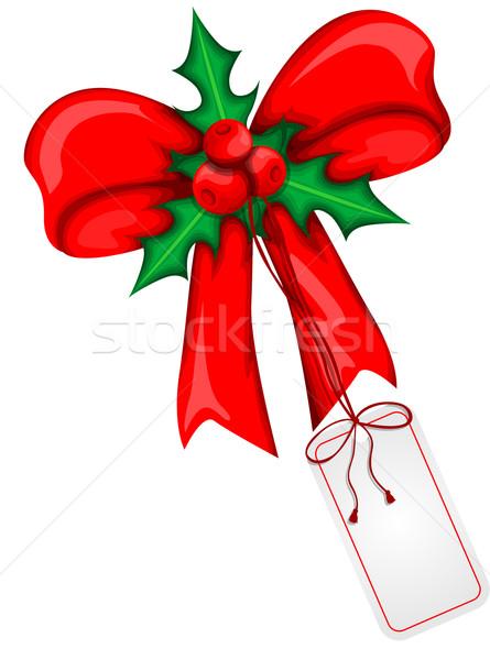 Noël ruban fond boîte cadeau carte Photo stock © lindwa