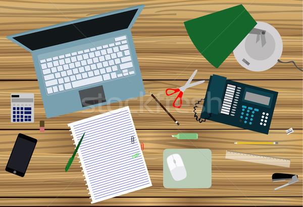 Munkahely számítógép munka egér ceruza oktatás Stock fotó © lindwa