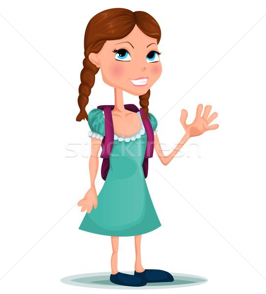 öğrenci vektör kadın kız gülümseme okul Stok fotoğraf © lindwa