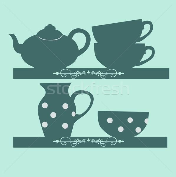 Kahve ayarlamak çay raflar vektör içmek Stok fotoğraf © lindwa
