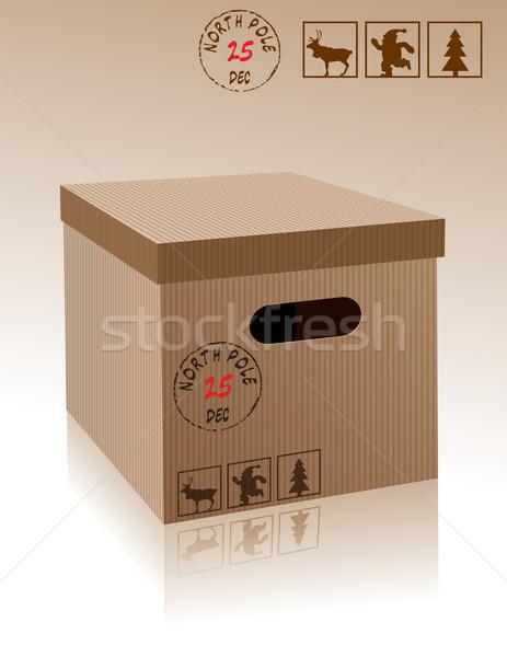 Noël boîte papier heureux hiver cadeau Photo stock © lindwa