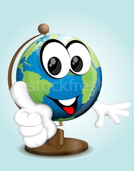 Sonriendo tierra senalando dedo mundo feliz Foto stock © lindwa