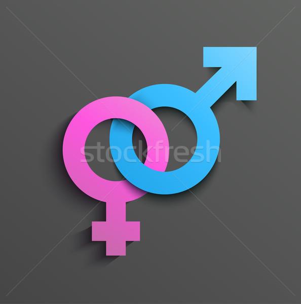 Masculino feminino símbolo assinar banheiro rosa Foto stock © lindwa