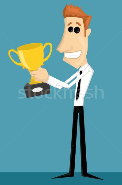Cartoon kantoormedewerker trofee zakenman corporate baan Stockfoto © lindwa
