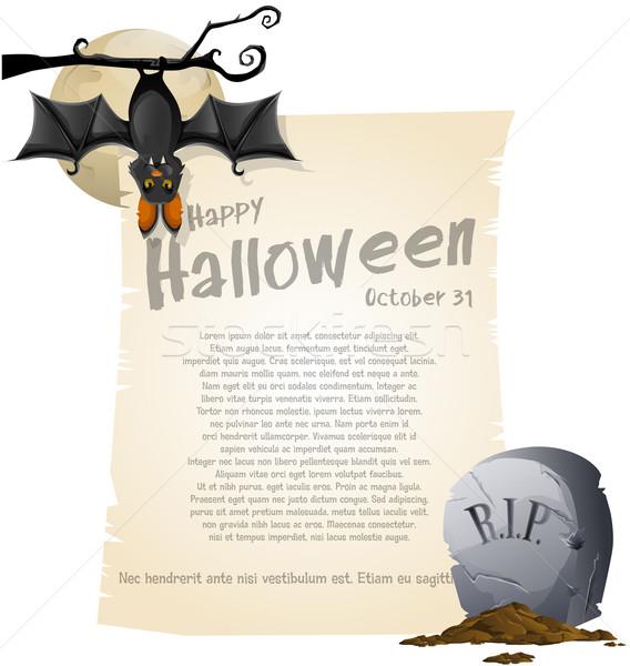 Halloween schwarz Zeichnung Plakat Entsetzen Feier Stock foto © lindwa