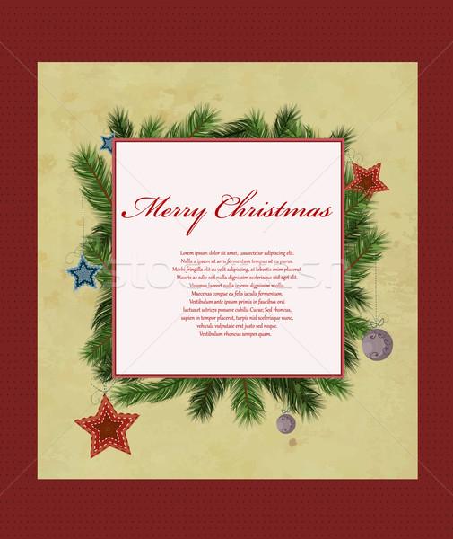 Karácsonyi üdvözlet férfi csillagok éjszaka szín fehér Stock fotó © lindwa