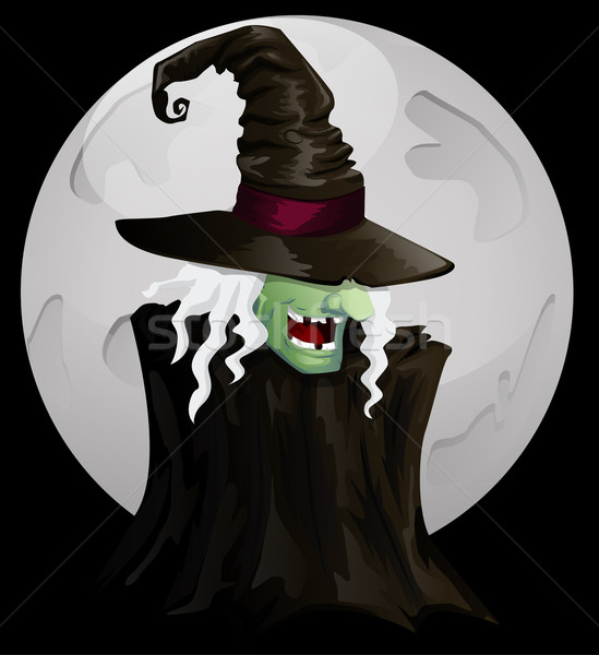 Halloween heks licht nacht donkere cartoon Stockfoto © lindwa