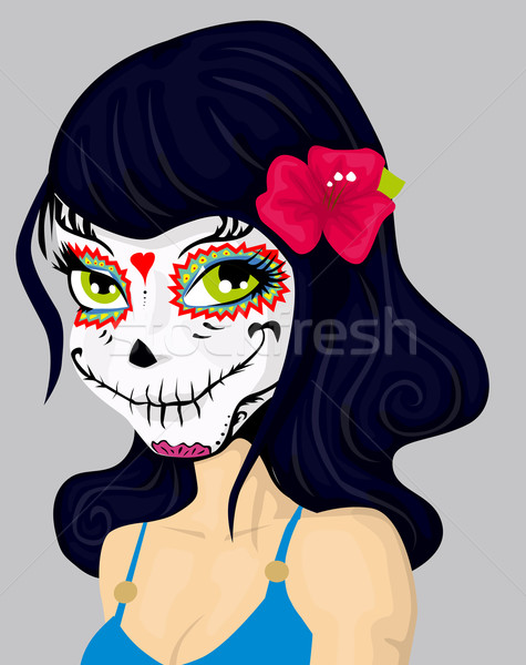 Desenho animado menina morto máscara make-up mulher Foto stock © lindwa