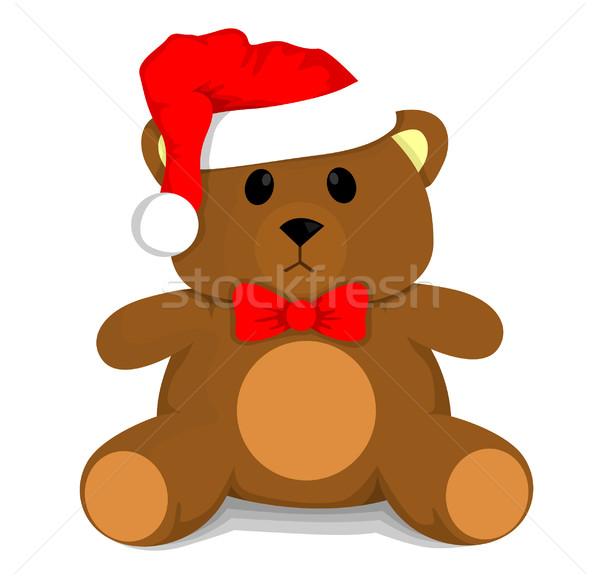 Noel oyuncak ayı bebek boyama kırmızı ayı Stok fotoğraf © lindwa