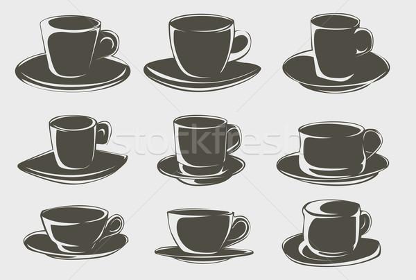 Kávéscsésze formák étel szeretet terv ital Stock fotó © lindwa